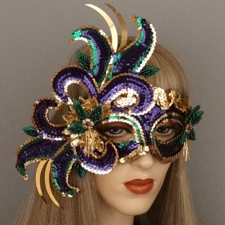 Fuchsia Mardi Gras Masquerade Mask Thumb