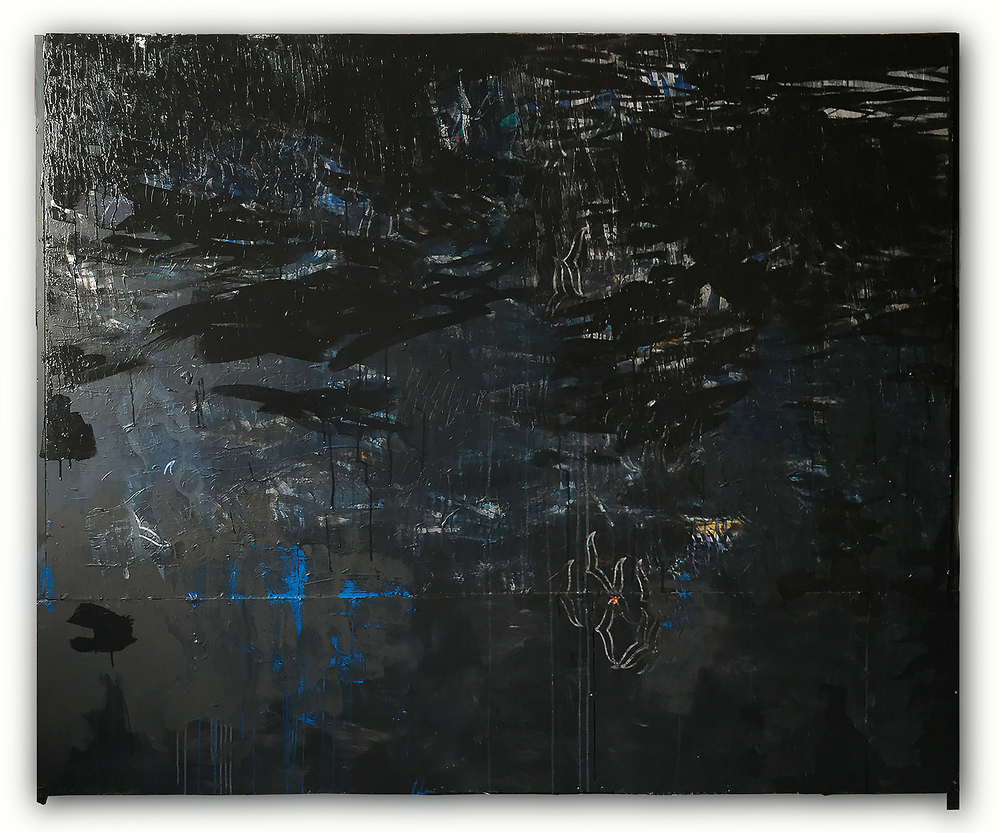"""black metal"" , acrylic collage & carving on wood 1.65 X 2.03 meters -2015"