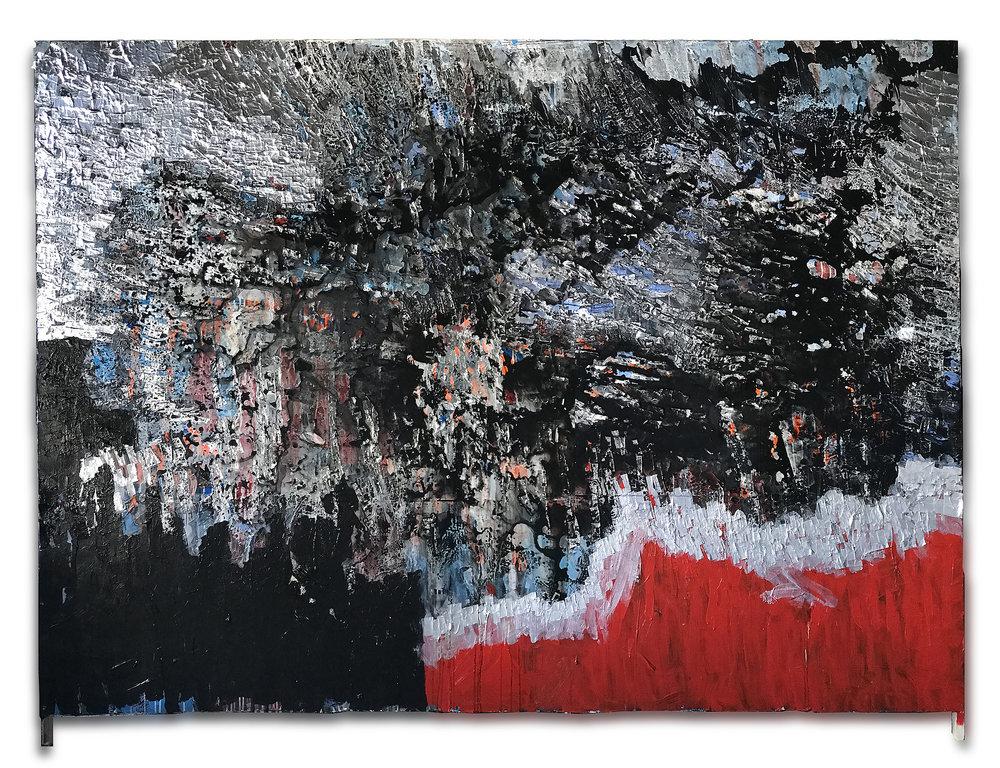 """""""RED CLOAK """" wood, metal & acrylic 2.43 X 1.82 meters -2018"""