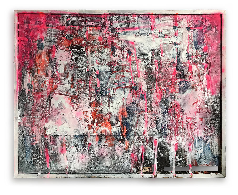 """"""" PINK WITH A FRAME """" wood, metal & acrylic 2.34 X 1.80 meters -2018"""