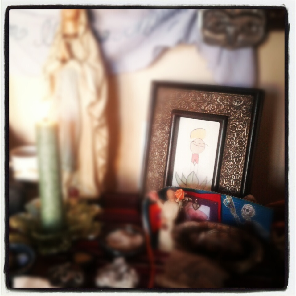 one of my mizuko jizo altar paintings on my altar.