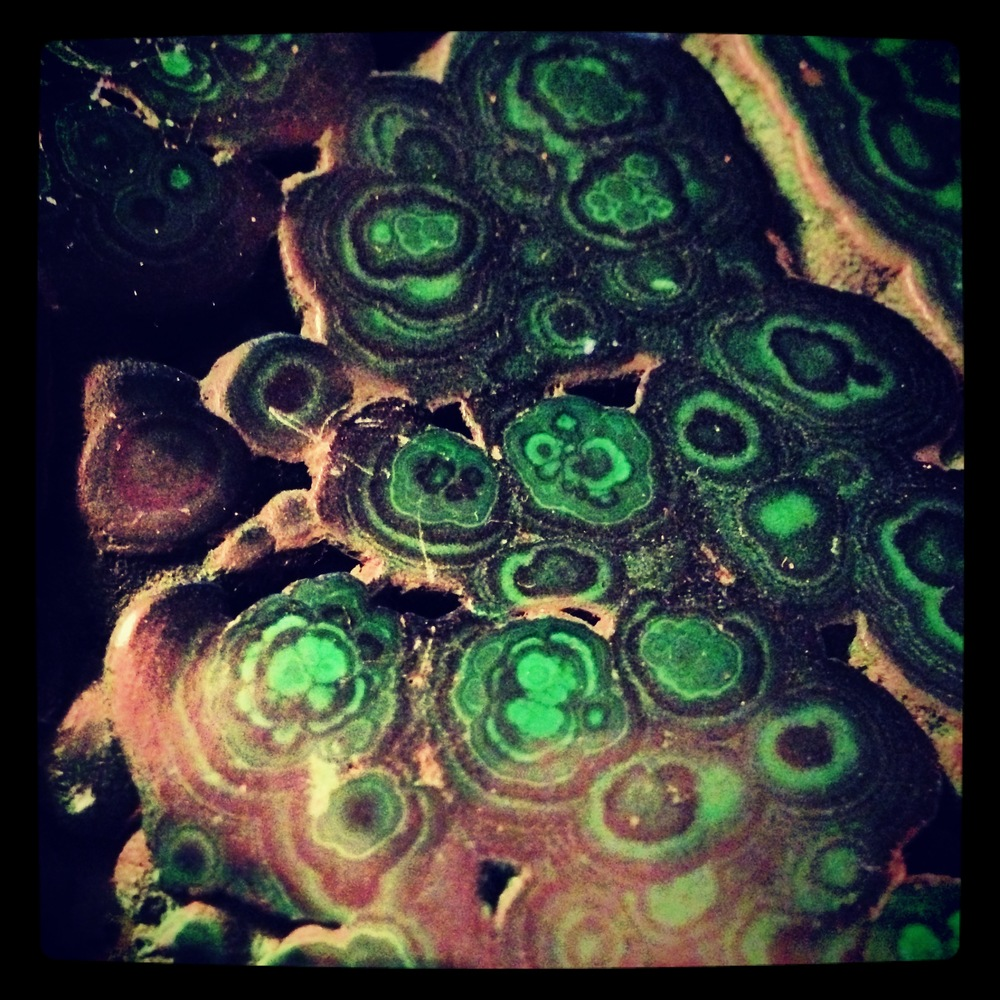 A close up of the florettes of malachite. Its banding and beauty enhances the draw to work with it.