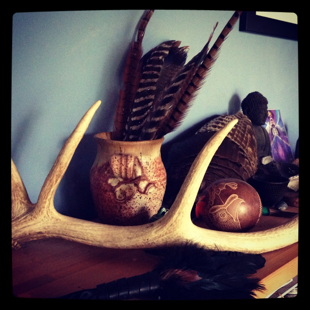 Working with deer medicine on my altar.