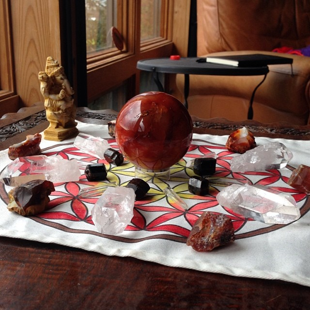 Creativity grid with carnelian, dravite, clear quartz, and of course my little Ganesha statue.
