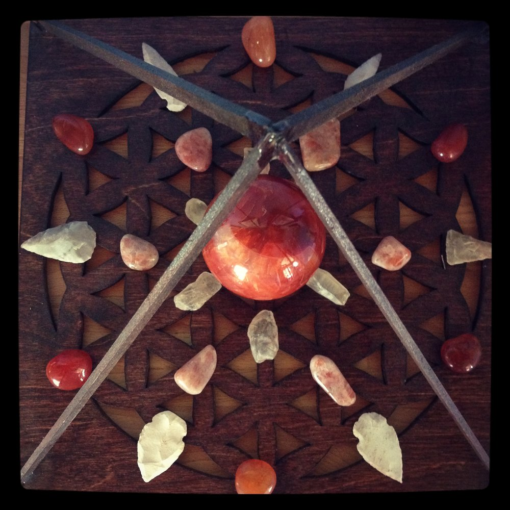 Grid for empowerment and energy—Carnelian, Sunstone, Citrine and Arrowheads.