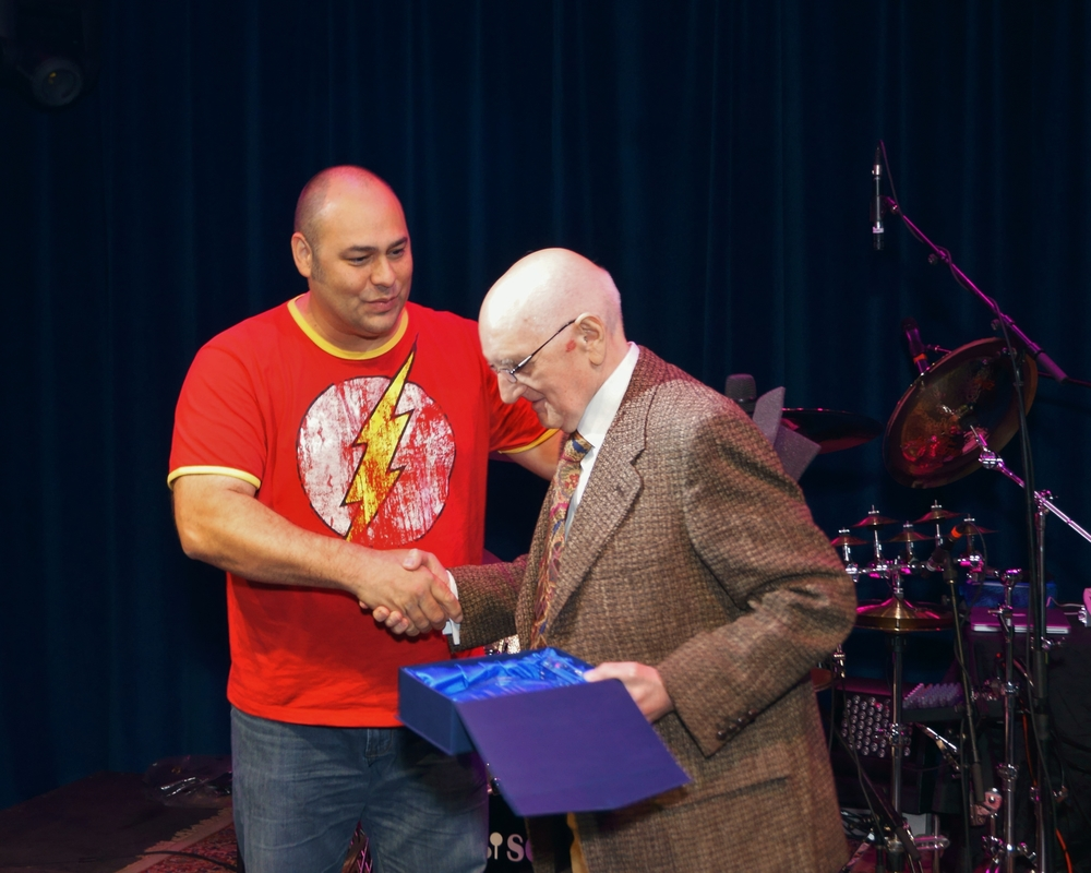 Dave Patel giving Jim Blackley his Lifetime Achievement Award. (Metal Works First Annual Drum Festival 2012)