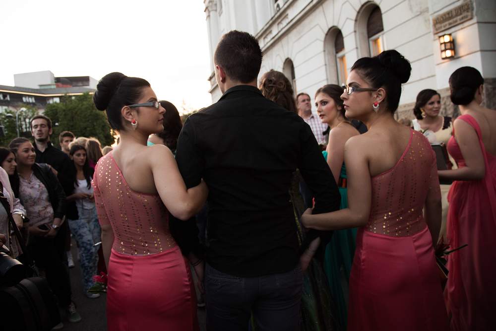 Youths take photos and walk through Banja Luka before a high school prom. After graduating from high school, Bosnian youths are faced with a 60% unemployment rate, and many of whom linger for years after graduating, unable to find employment.