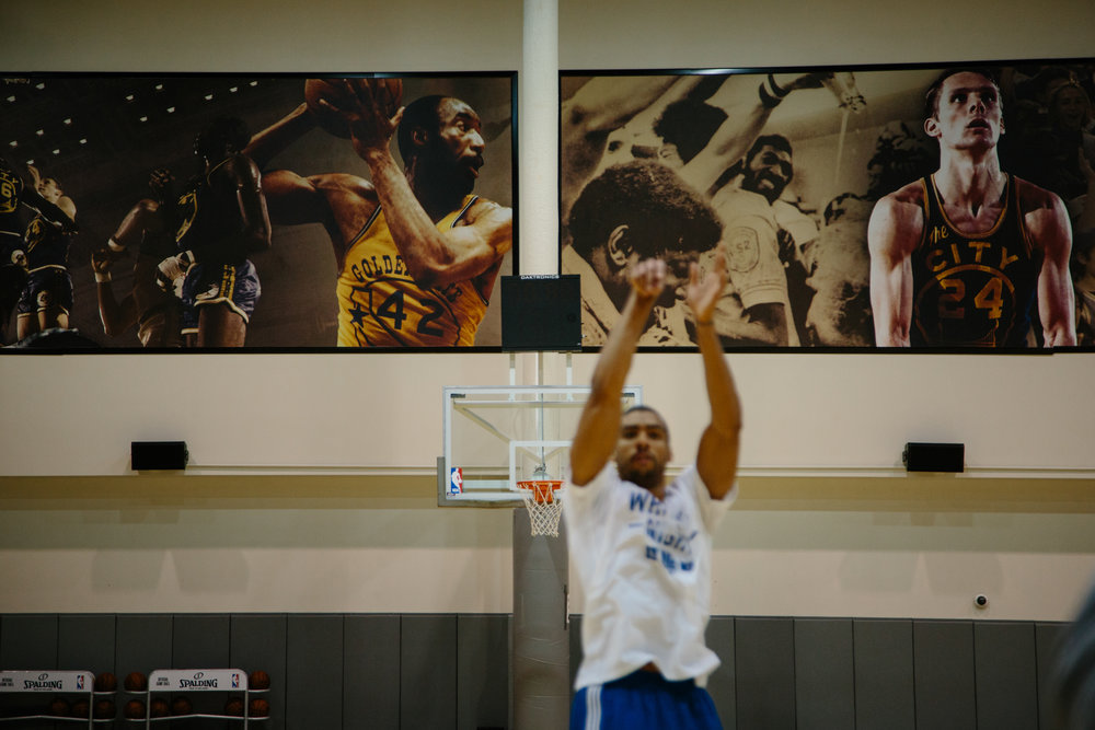 McAdoo practices in the gym.