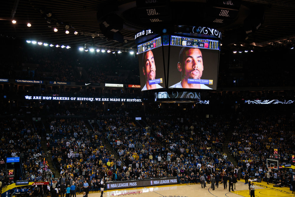 A video of McAdoo speaking about what MLK Jr. Day means to him is part of a video compiliation being shown on the Jumbotron during the game in honor of MLK Jr. Day.