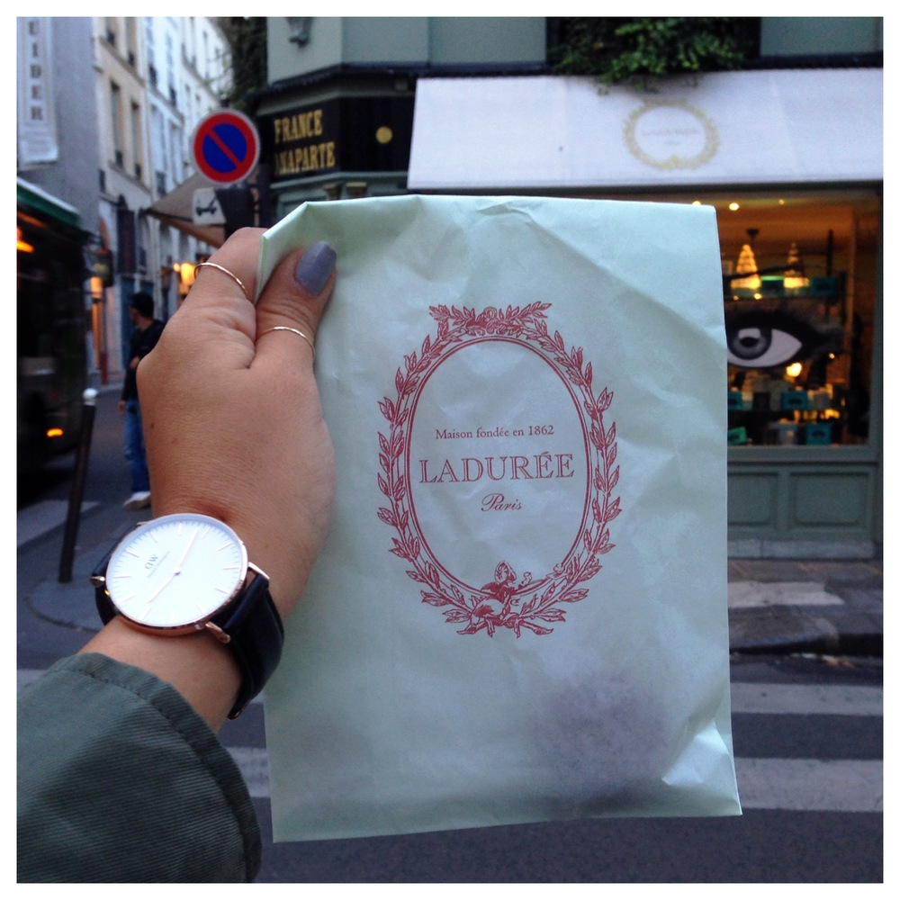 Arriving in Paris, France in time before Laduree closed