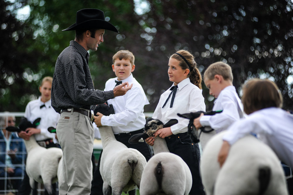 The contestants listen as the judge offers feedback about their lambs and their performance.
