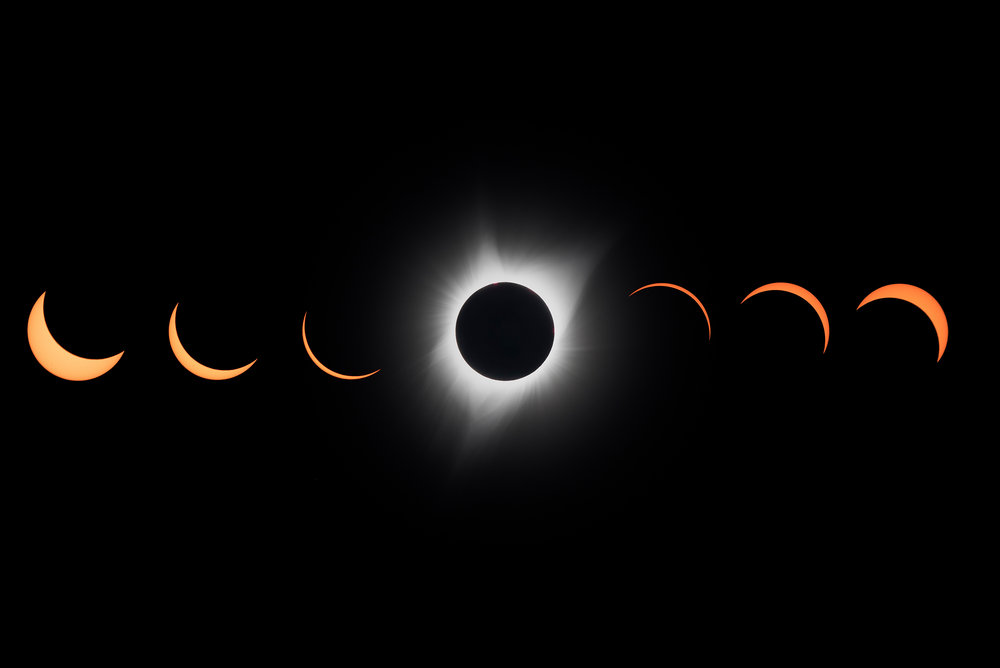 A composite photograph shows phases of the eclipse with the moment of totality revealing plasma surrounding the sun known as the corona.