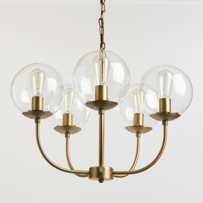 Antique Brass and Glass Globe 5 Light Alessa Chandelier  ($249.99)