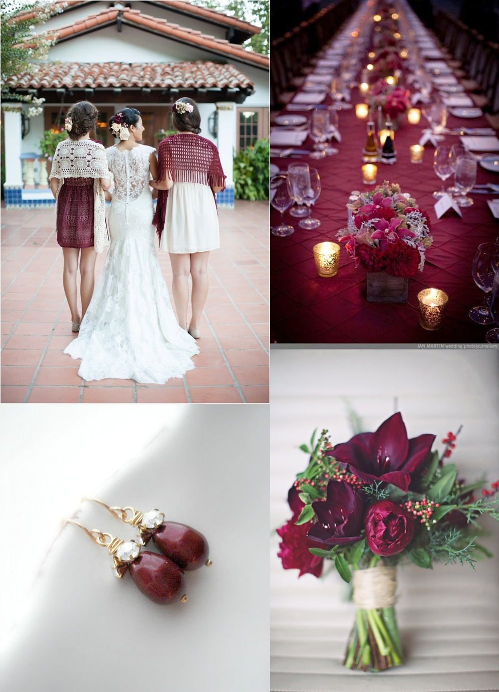 Sources:  Bridesmaid details /  Table /  Earrings /  Bouquet