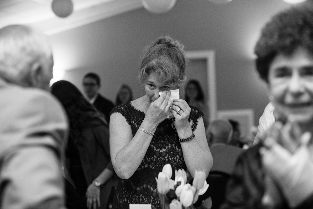 Mother crying at wedding