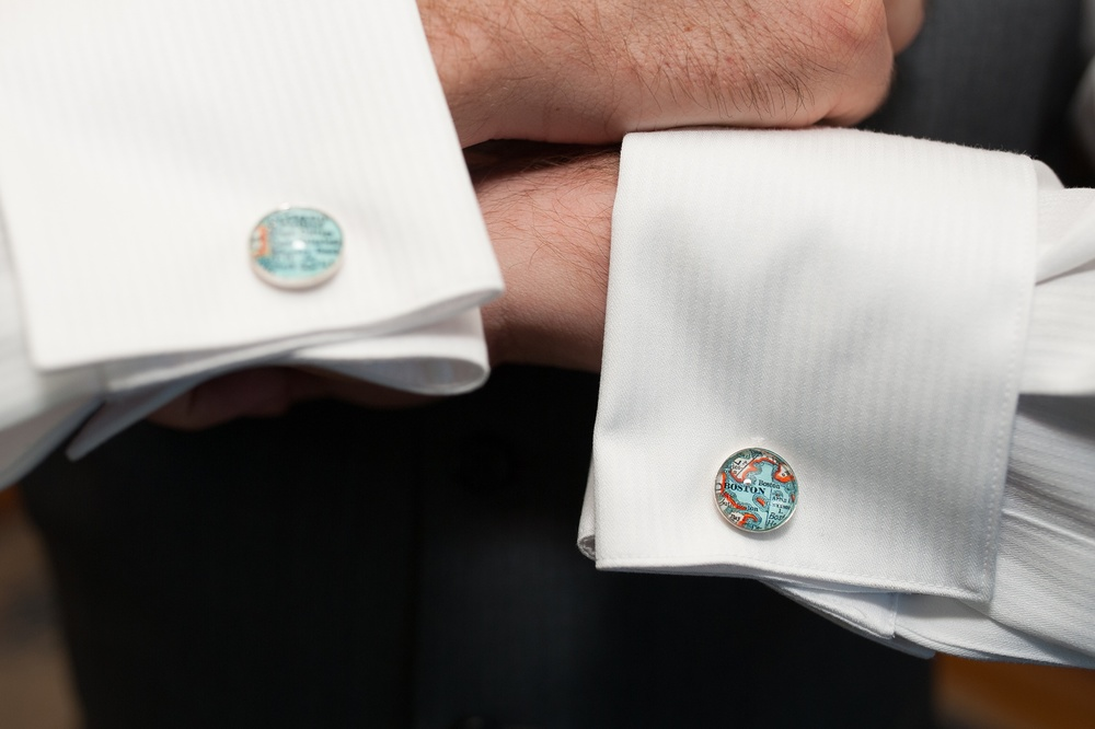 Map cufflinks Boston and Portland