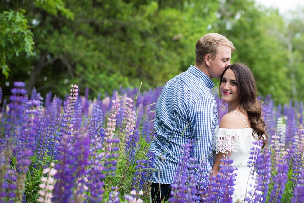 Couple in lupine field