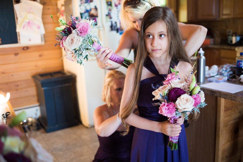 flower girl getting ready