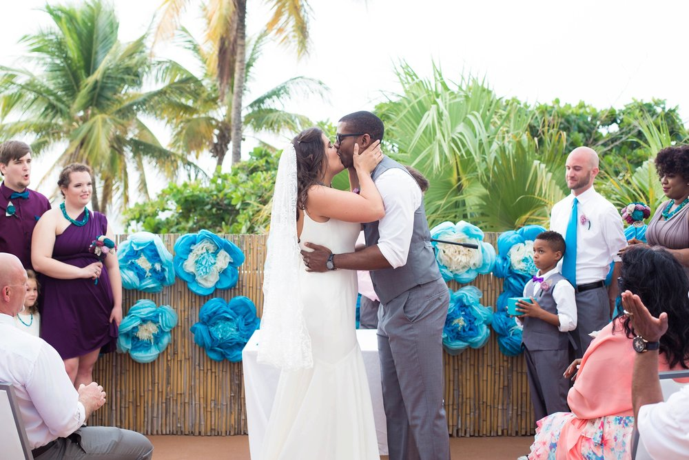 Puerto Rico Wedding First Kiss