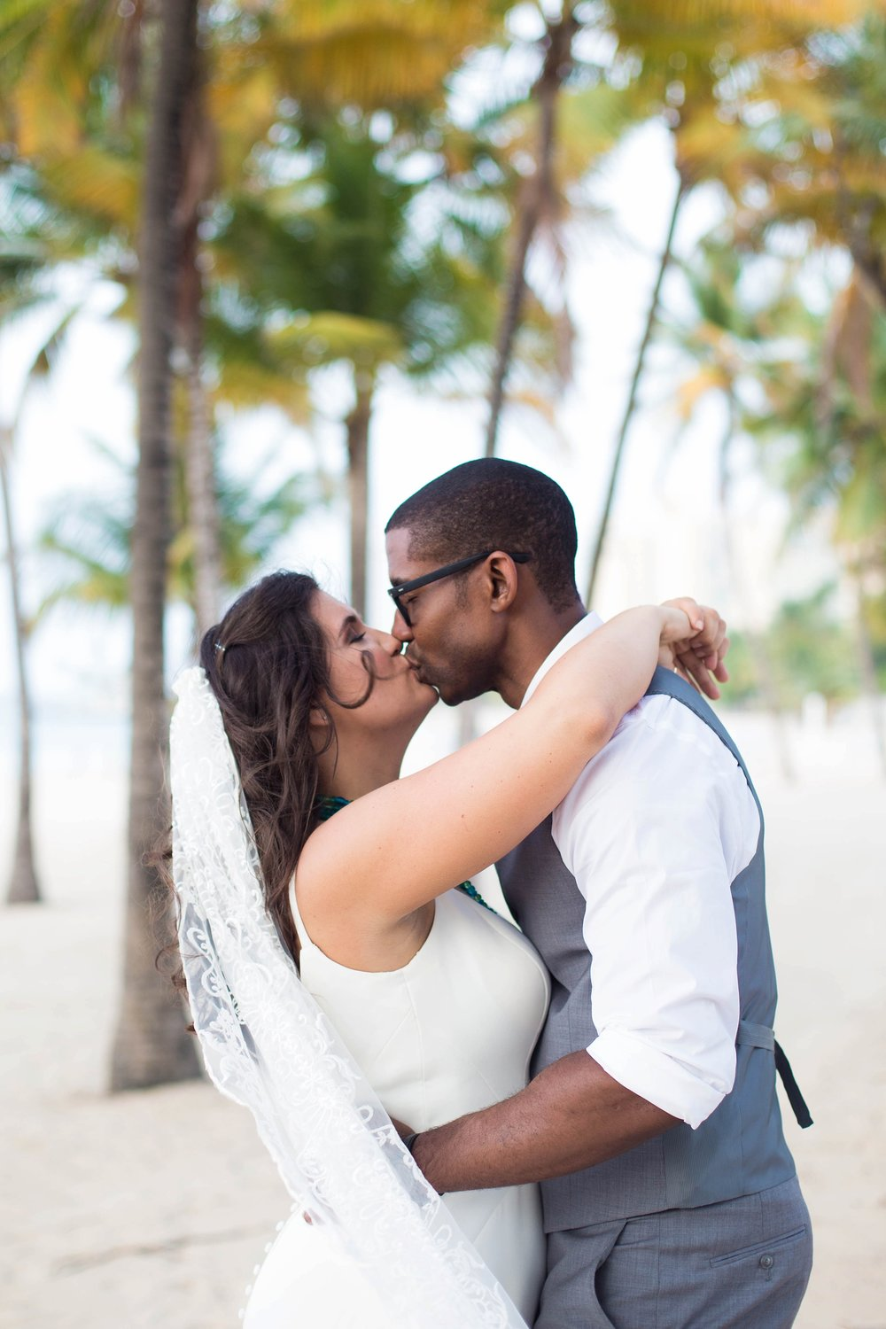 bride and groom island wedding