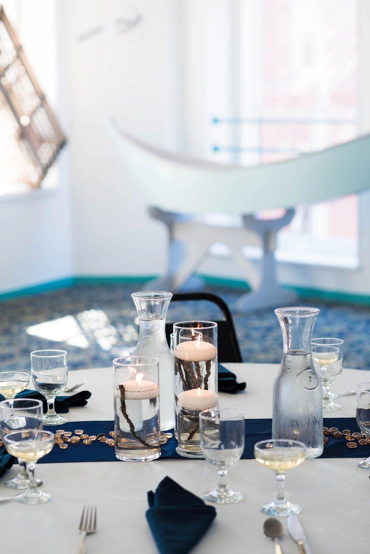 Blue wedding table setting