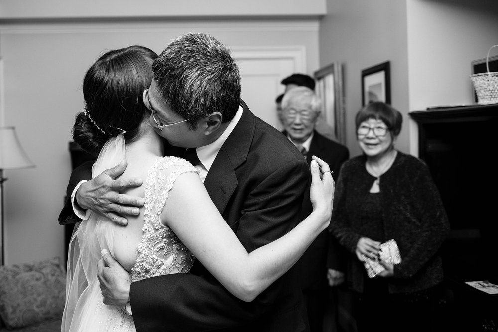 bride and father hug