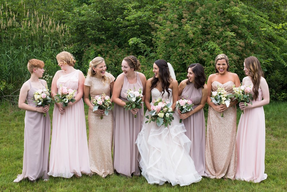Pink and glitter bridesmaid dresses