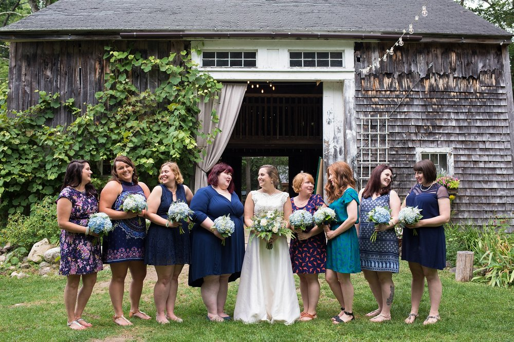 different shades of blue bridesmaids