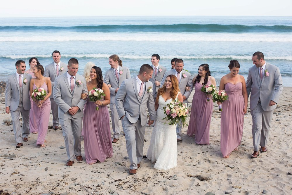 bridal party beach photos