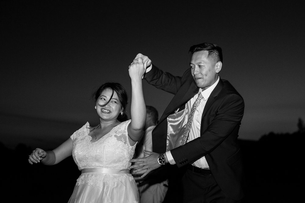 bride and brother dancing