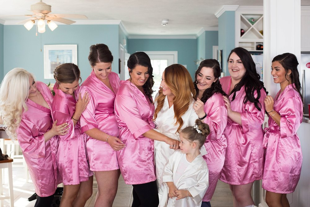bridesmaids pink robes