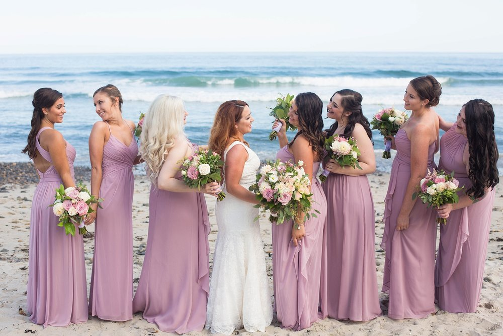 bridal party pictures on beach