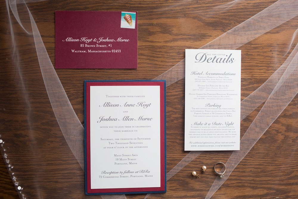 red and navy wedding invitation