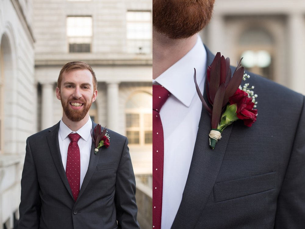 groom with red tie