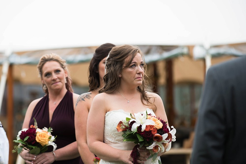 emotional bride at wedding