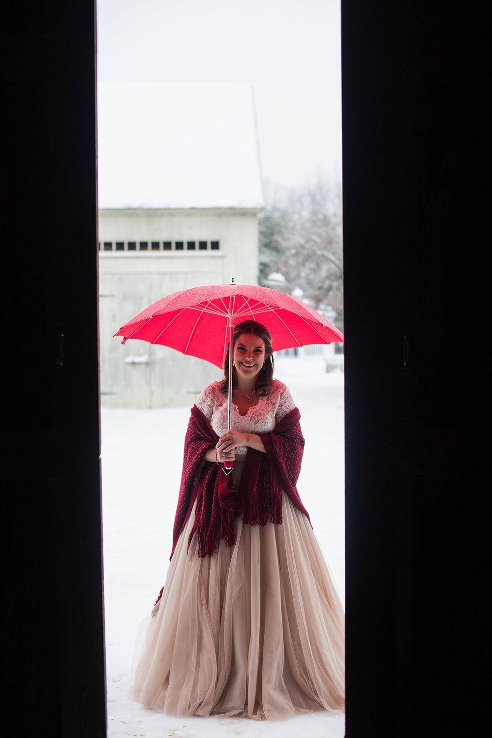 winter wedding first look
