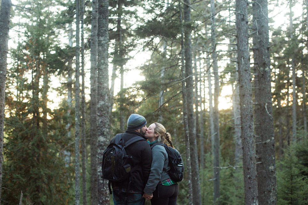 woodsy maine engagement pictures