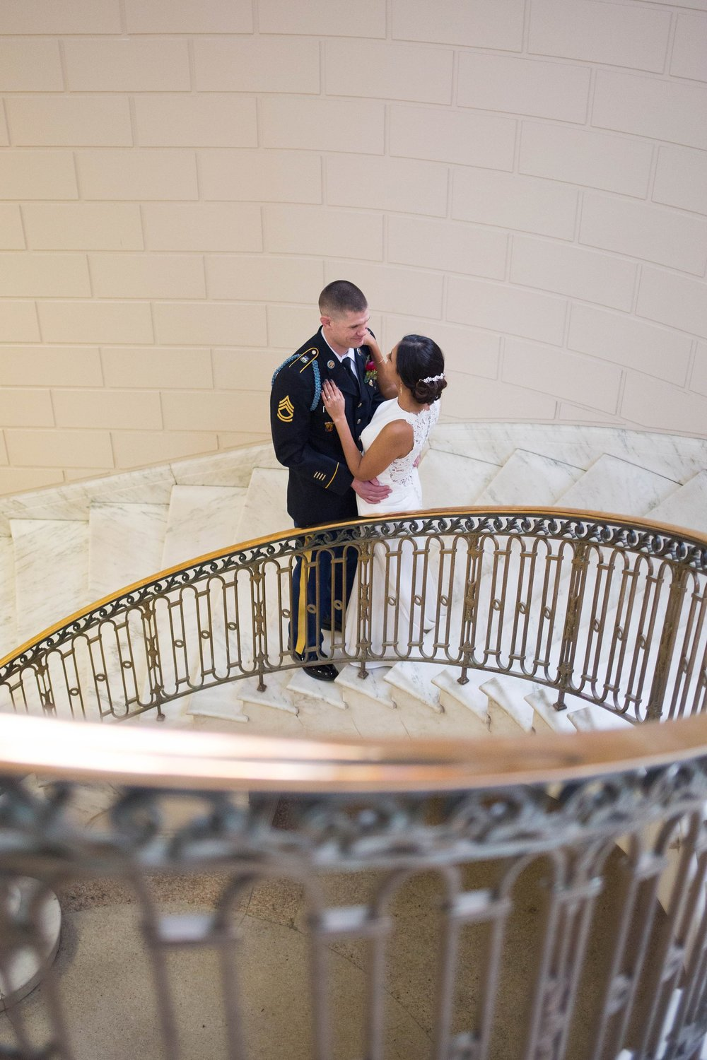 wedding photos on staircase