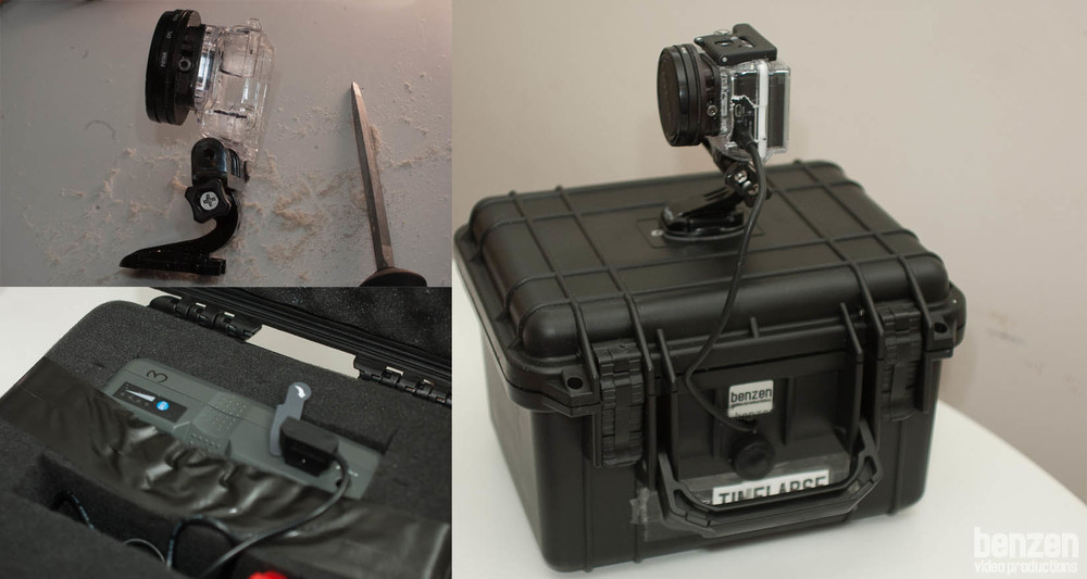 GoPro Mount, V-Lock Battery with special cable and the finished GoPro on the right.