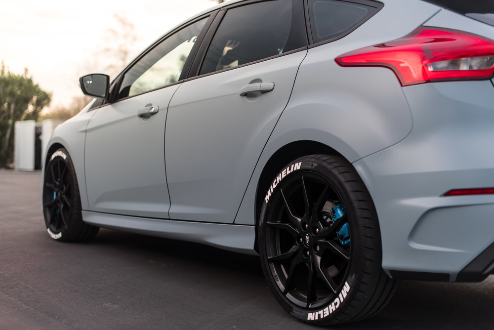 we did a complete transformation on this ford focus rs which looks insane now in its new battleship grey color with rs blue accents and tire stickers - Battleship Grey Color