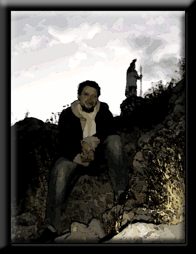 A photo of Jacob Campbell (me) manipulated with Photoshop to make it look as if it was made with watercolor.  The photo is from my trip to South America, and was taken on a hillside in Puno Peru