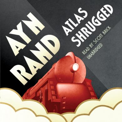 The Audiobook Cover for Ayn Rand's Atlas Shrugged. You can find it onAmazonand listen to yourself. I uploaded this graphic for my blog postAn Allegory of the Free Market and Capitalism, Atlas Shrugged Book Review.