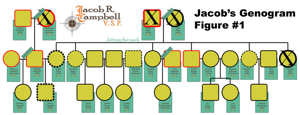Figure 1 is a graphic I created in Adobe Illustrator (different from the the version in the original article). It displays an genogram of Jacob Campbell's family for his article onGenogram & Eco-map. It examines whether family members name, birth date, date of death (if applicable), year married, alcoholism, cancer, and work in social services.