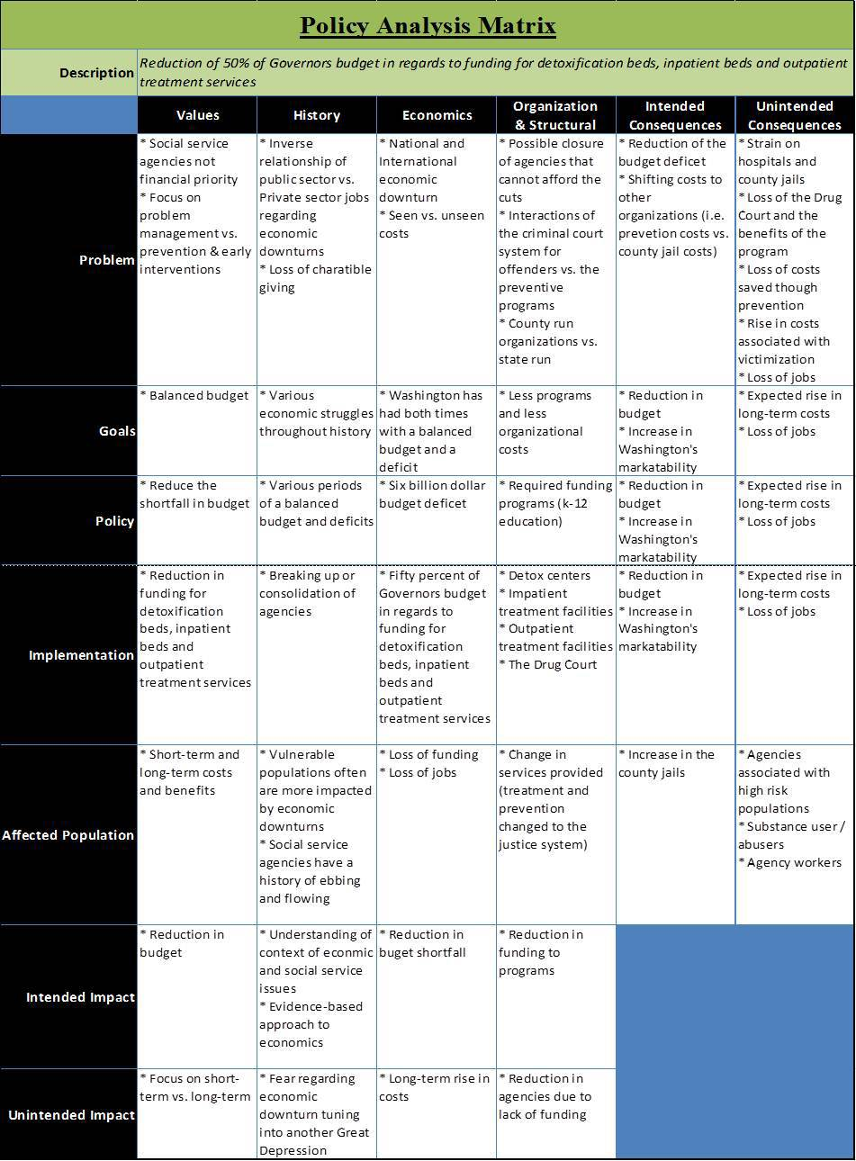 A table demonstrating an example of a policy analysis matrix