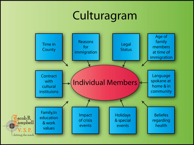 I created this graphic using Adobe Illustrator based on information discussed in one of my MSW classes at Eastern State University. It is a culturagram. A culturagram is a graphical representation of culture on an individual family member. These interactions, made up similar to an eco-map. The various elements that influence the individual are as follows;   * Time in County   * Legal Status *   Age of family members at time of immigration *   Language spoken at home & in community *   Health Belief *   Holidays and special events *   Impact of crisis events *   Family, education, and work values *   Contract with cultural institutions  *   Reasons for immigration