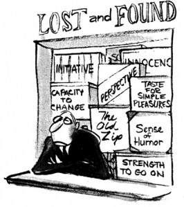 This Cartoon was taken from  the blog Good Deed A Day . It features a Lost and Found Booth with boxes of various human feelings. While on my trip I didn't loose my feelings, I felt it was a good picture to use.