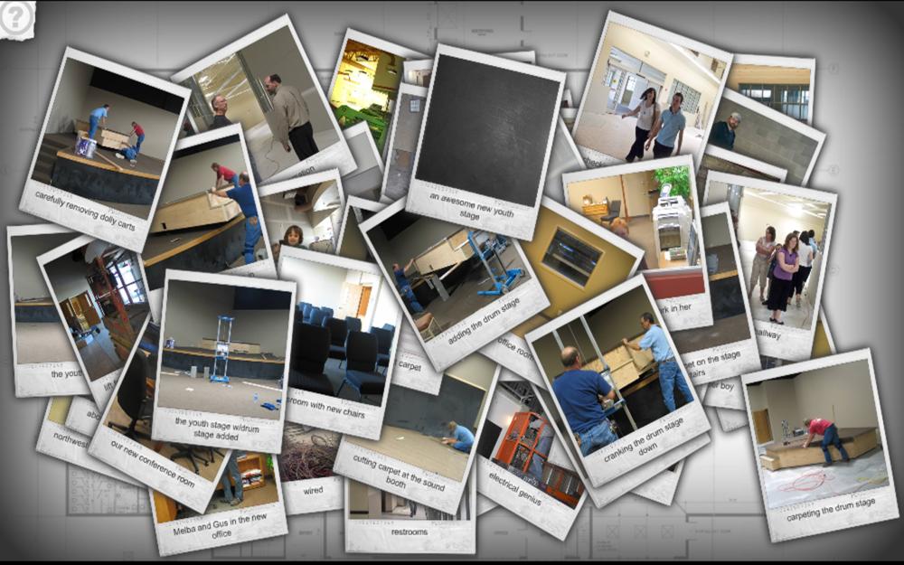A screenshot of the Victory Faith Fellowshipof a collage of photos regarding their new church facility.