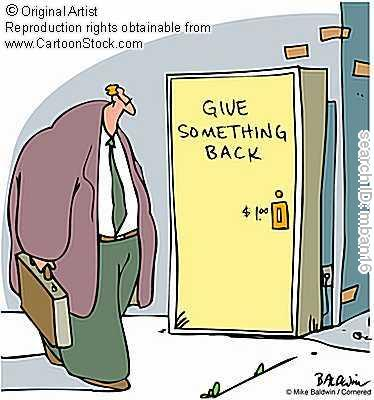 "A cartoon of the non-profit sector with ""Give Something Back"" written on vending machine. This cartoon was taken from  Cartoon Stock"