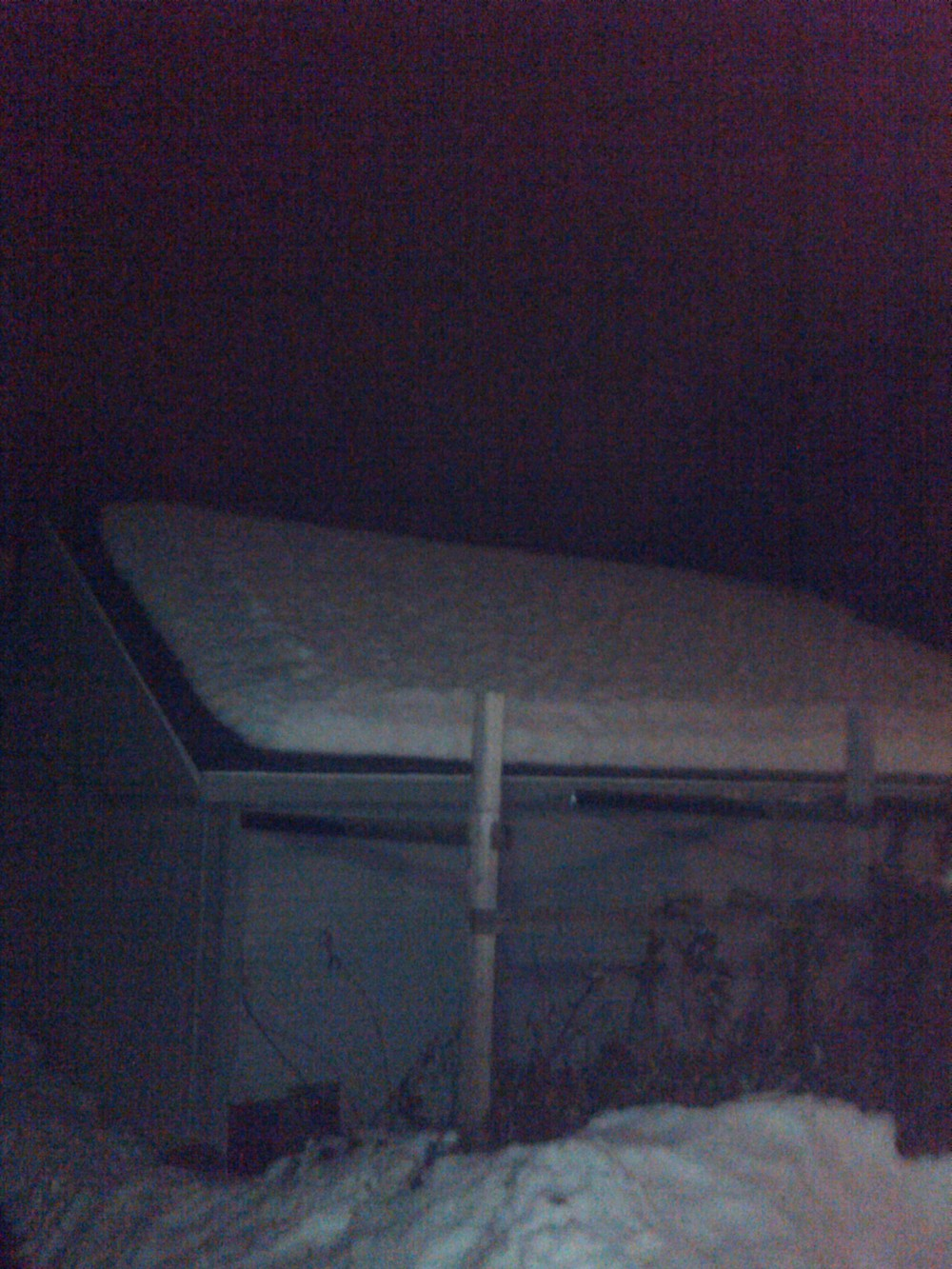 Snow on my garage's roof.