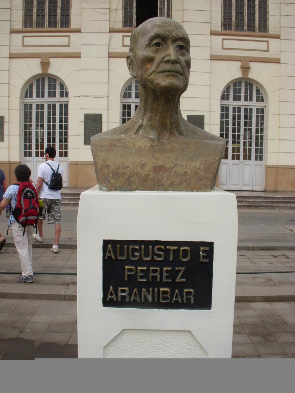A statue commemorating Abusto E. Perez Aranibar, Creator of the PPA